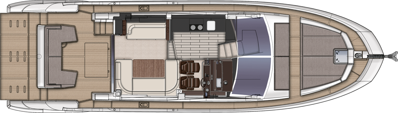 Azimut 50 Galley UP Version - Upper Deck